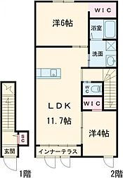 JR東北本線 宇都宮駅 バス20分 東高前下車 徒歩10分の賃貸アパート 2階2LDKの間取り