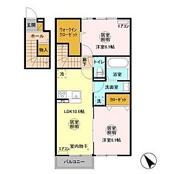 JR常磐線 勝田駅 バス15分 富士山団地下車 徒歩5分の賃貸アパート 2階2LDKの間取り