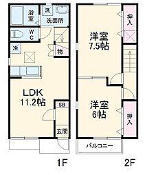 JR常磐線 勝田駅 徒歩33分の賃貸テラスハウス 1階2LDKの間取り