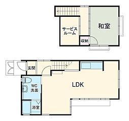 阪急宝塚本線 岡町駅 徒歩3分の賃貸一戸建て 1階1SLDKの間取り