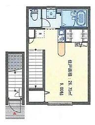 東急大井町線 旗の台駅 徒歩5分の賃貸アパート 2階ワンルームの間取り