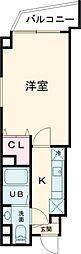 JR常磐線 亀有駅 徒歩5分の賃貸マンション 2階1Kの間取り