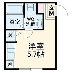 JR南武線 平間駅 徒歩8分の賃貸アパート 1階ワンルームの間取り