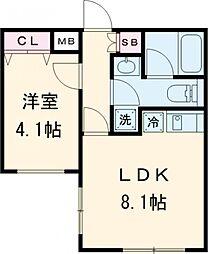 東急田園都市線 桜新町駅 徒歩8分の賃貸マンション 地下1階1LDKの間取り