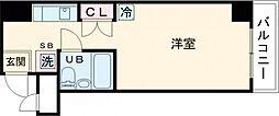 JR中央線 国分寺駅 徒歩3分の賃貸マンション 6階ワンルームの間取り