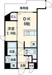東急東横線 都立大学駅 徒歩4分の賃貸マンション 1階1DKの間取り