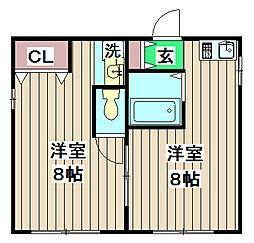 加賀山コーポ1 2階ワンルームの間取り