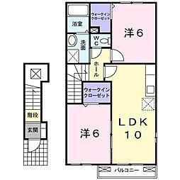JR高崎線 本庄駅 5kmの賃貸アパート 2階2LDKの間取り