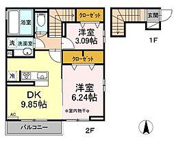 東武伊勢崎線 竹ノ塚駅 徒歩25分の賃貸アパート 2階2DKの間取り