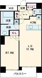 JR山手線 五反田駅 徒歩6分の賃貸マンション 16階1LDKの間取り