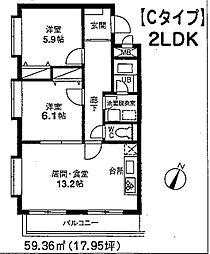 JR京浜東北・根岸線 大宮駅 徒歩7分の賃貸マンション 3階2LDKの間取り