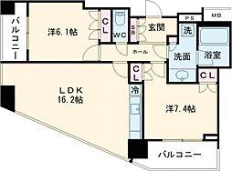 JR山手線 目黒駅 徒歩7分の賃貸マンション 18階2LDKの間取り
