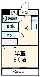 JR東海道本線 静岡駅 バス30分 片山前下車 徒歩2分の賃貸マンション 2階1DKの間取り