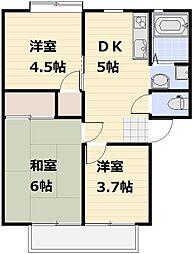 JR高崎線 宮原駅 徒歩18分の賃貸アパート 2階3DKの間取り