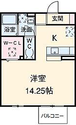 名鉄豊田線 浄水駅 徒歩9分の賃貸アパート 1階1Kの間取り