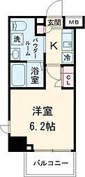 東急池上線 五反田駅 徒歩7分の賃貸マンション 2階1Kの間取り