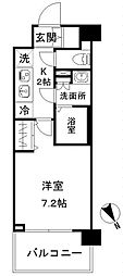 N-stage AkabaneShimo 5階1Kの間取り