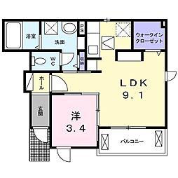 東武日光線 新大平下駅 バス14分 下皆川東下車 徒歩4分の賃貸アパート 1階1LDKの間取り