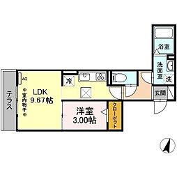 仮)-room松鴻町C棟 1階1LDKの間取り