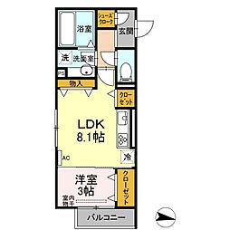仮)D-room小向町 2階1LDKの間取り