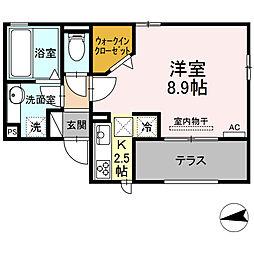 仮)D-room東田町 1階1Kの間取り
