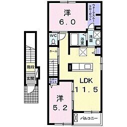 JR予讃線 讃岐塩屋駅 徒歩14分の賃貸アパート 2階2LDKの間取り