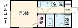 京王井の頭線 永福町駅 徒歩4分の賃貸マンション 1階ワンルームの間取り