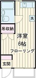 JR武蔵野線 北府中駅 徒歩10分の賃貸アパート 1階ワンルームの間取り