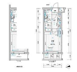 メインステージ立川III 2階1Kの間取り