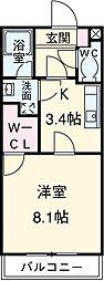 ラ・フォーレ呉竹 1階1Kの間取り