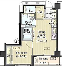 東急東横線 自由が丘駅 徒歩11分の賃貸マンション 3階1LDKの間取り