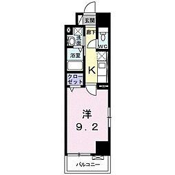JR高崎線 高崎駅 徒歩8分の賃貸マンション 6階1Kの間取り