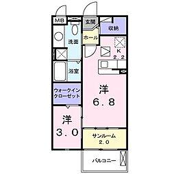 京成本線 勝田台駅 徒歩13分の賃貸アパート 1階1Kの間取り