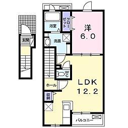 京成本線 京成成田駅 バス28分 太産工業前下車 徒歩7分の賃貸アパート 2階1LDKの間取り