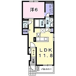 JR両毛線 国定駅 徒歩34分の賃貸アパート 1階1LDKの間取り