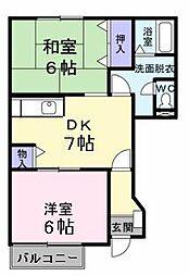京成本線 京成成田駅 バス16分 獅子穴下車 徒歩6分の賃貸アパート 1階2DKの間取り