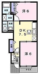 JR総武本線 八街駅 バス8分 富山入口下車 徒歩5分の賃貸アパート 1階2DKの間取り
