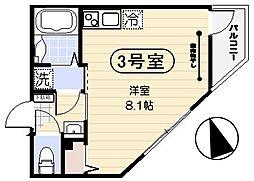JR京浜東北・根岸線 蒲田駅 徒歩10分の賃貸マンション 3階ワンルームの間取り