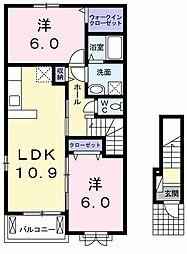 東武桐生線 新桐生駅 徒歩37分の賃貸アパート 2階2LDKの間取り