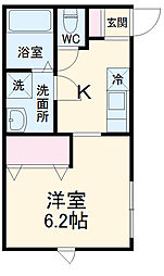 ピュアメゾン平塚中里 2階1Kの間取り