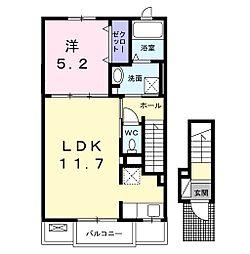 JR成田線 成田駅 バス26分 三里塚小学校前下車 徒歩11分の賃貸アパート 2階1LDKの間取り