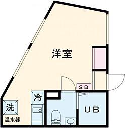 東武伊勢崎線 東向島駅 徒歩2分の賃貸マンション 2階ワンルームの間取り