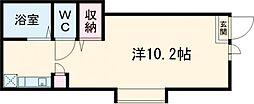 東武宇都宮線 東武宇都宮駅 徒歩11分の賃貸アパート 1階ワンルームの間取り