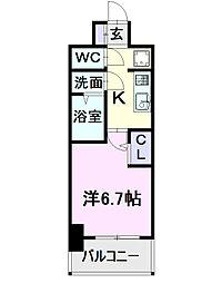 名古屋市営東山線 亀島駅 徒歩2分の賃貸マンション 7階1Kの間取り
