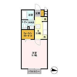 JR常磐線 神立駅 バス10分 大塚団地バス停下車 徒歩4分の賃貸アパート 1階1Kの間取り