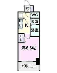 名古屋市営東山線 亀島駅 徒歩2分の賃貸マンション 11階1Kの間取り