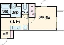 小田急小田原線 祖師ヶ谷大蔵駅 徒歩6分の賃貸アパート 3階1Kの間取り