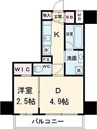 アジールコート新高円寺 4階1DKの間取り