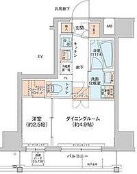 アジールコート新高円寺 9階1DKの間取り
