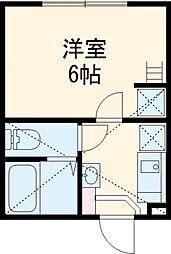 JR南武線 府中本町駅 徒歩7分の賃貸アパート 1階1Kの間取り